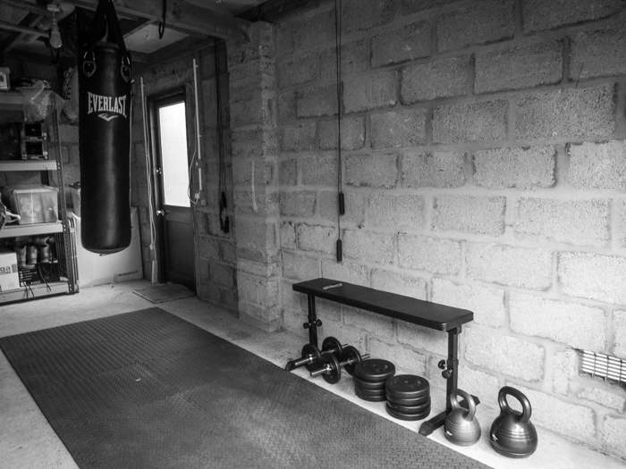 Day my home gym punch bag workout