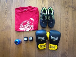Preparing for my boxing workout